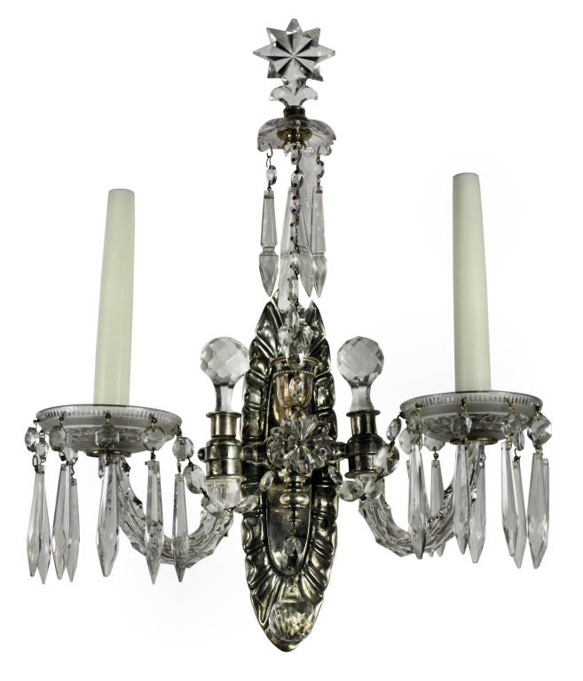 A Pair Of French Silver and Cut Glass Wall Sconces For Sale at 1stdibs