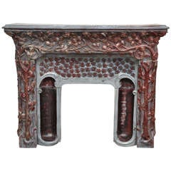 Extraordinary Antique Art Nouveau Stoneware Fireplace Signed by Emile Muller