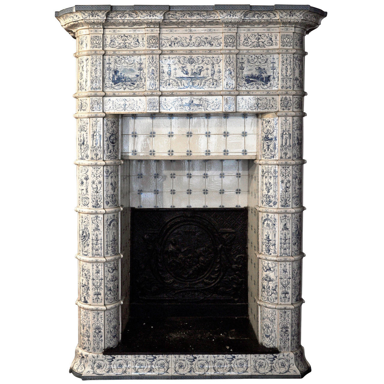 Antique ceramic fireplace with blue decor on a white background 19th century at 1stdibs - Decorating old fireplaces ...