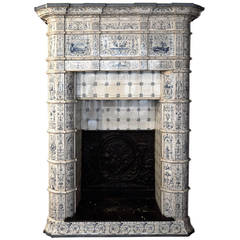 Antique Ceramic Fireplace with Blue Decor on a White Background, 19th Century