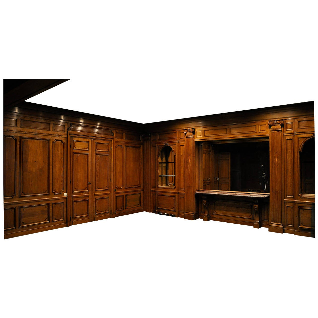 Oak Paneled Rooms : Sculpted oak wood paneled room th century for sale at