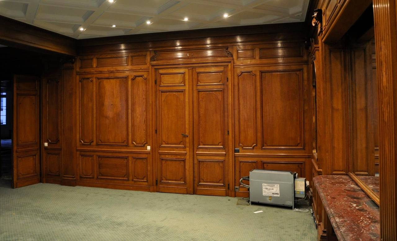 Oak Wood Room ~ Sculpted oak wood paneled room th century for sale at