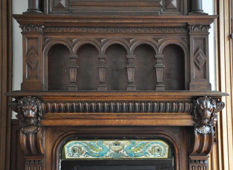 Monumental Oak Wood Fireplace with Joan of Arc Portrait, 19th ...