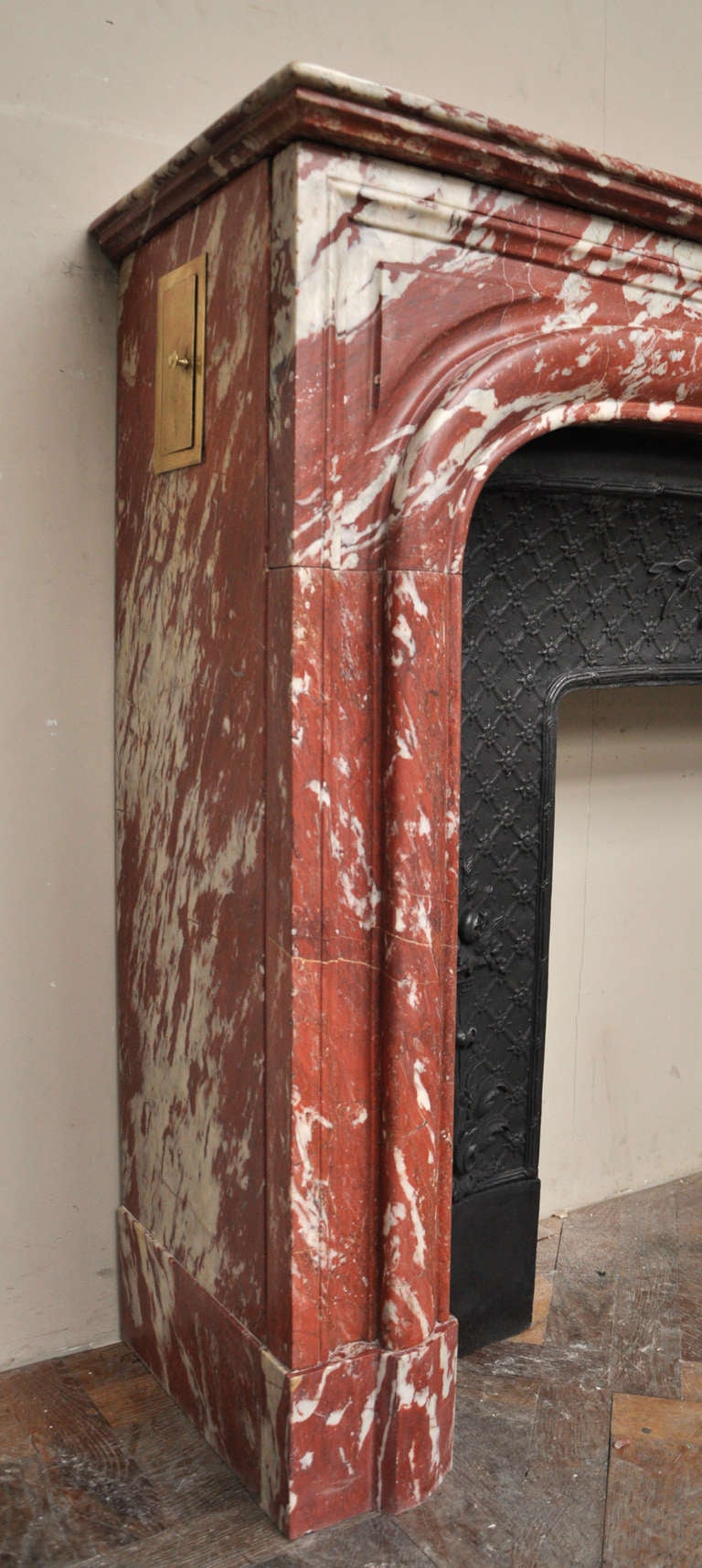 Antique Louis Xiv Style Fireplace In Red Marble From