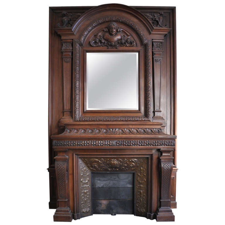 large antique walnut wood mantel with copper insert 19th