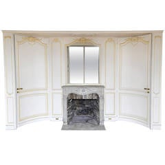 Early 20th Century Curved Paneled Room and 18th Century Louis XV Stone Fireplace