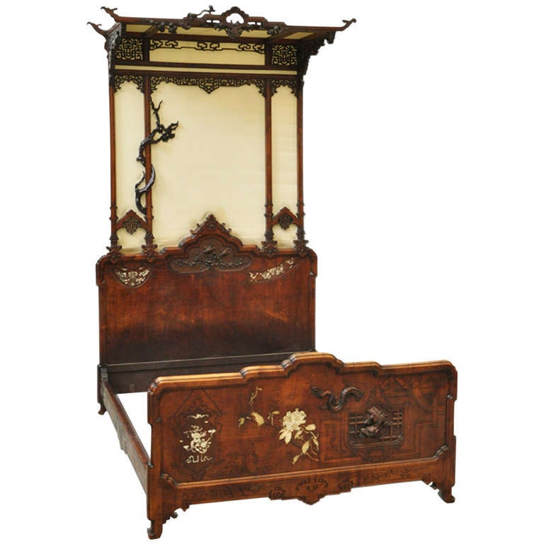 Antique Japonese Style Canopy Bed By Gabriel Viardot Circa