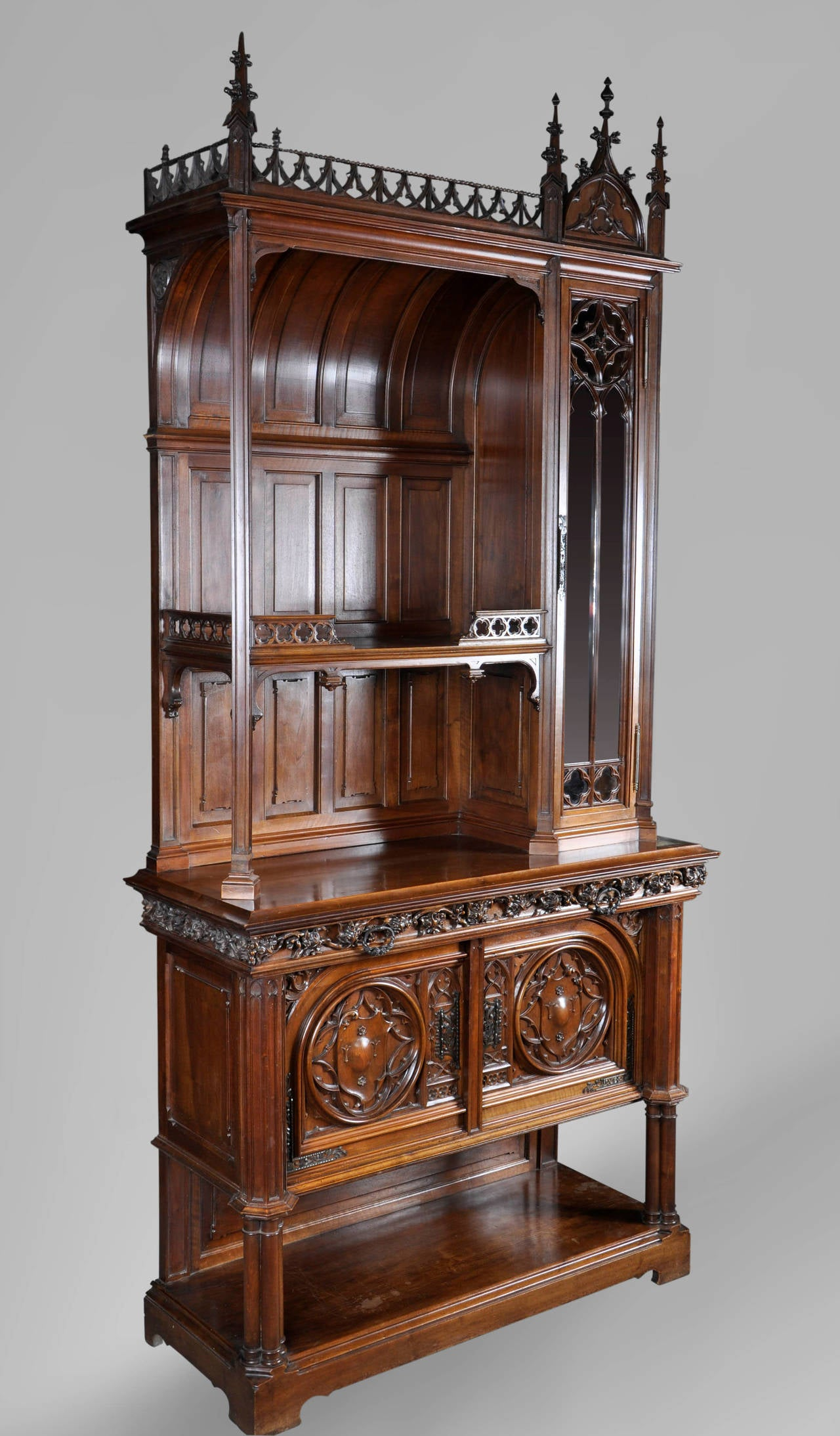 19th Century Neo Gothic Style Dresser Carved Walnut For