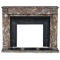 "Louis XVI Style Fireplace Sculpted in ""Rouge Du Nord"" Marble"