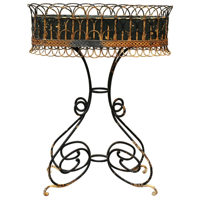 Wrought Iron Antique Plant Stand, period : 19th century