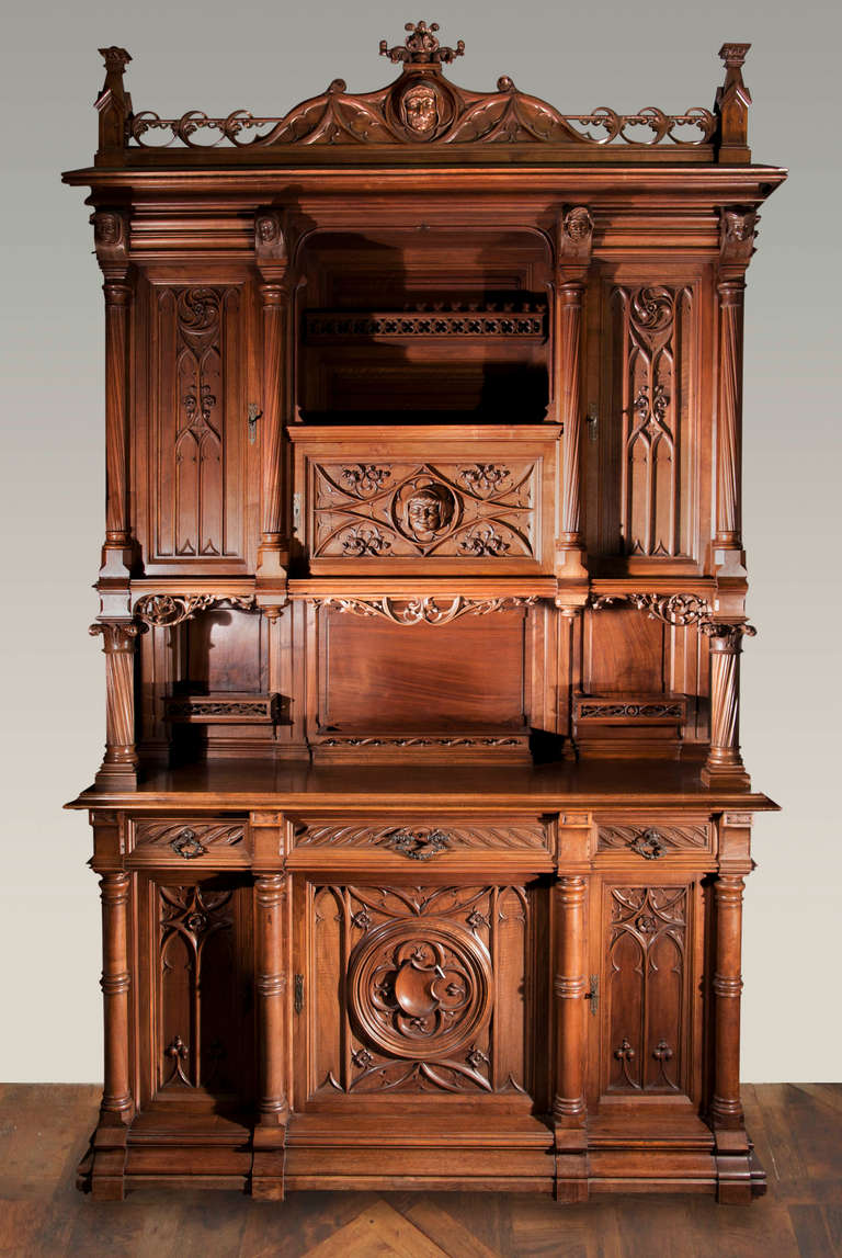 Antique Dining Room Set 5 P Furniture Renaissance Xvii Th: Antique Neogothic Style Dining Room Set Of Carved Walnut