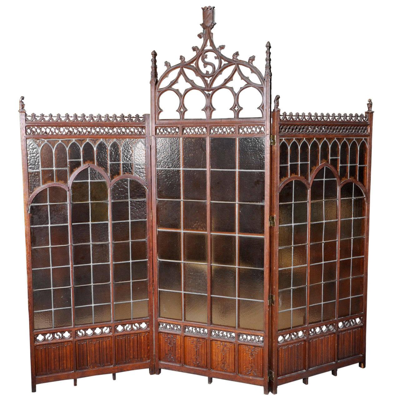 Gothic Style Decor neo-gothic style oakwood screen with gargoyles decor, 19th century