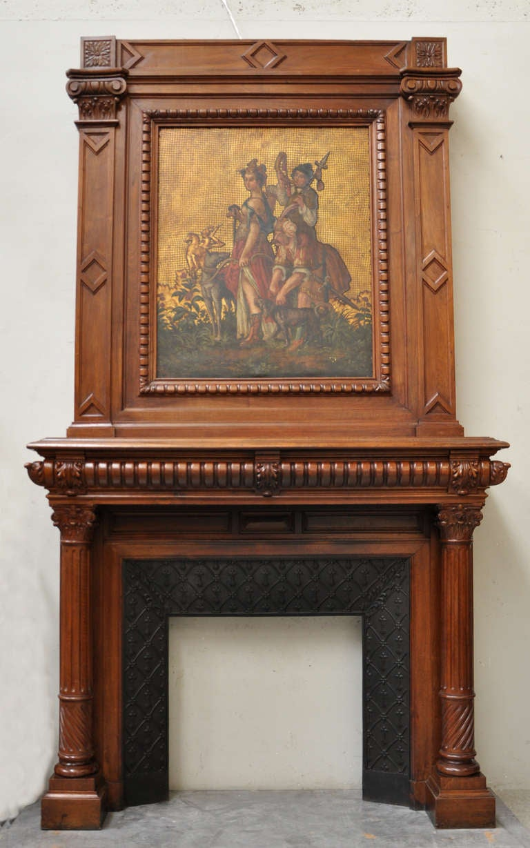 19th Century Napoleon Iii Style Walnut Fireplace With Painting On Leather At 1stdibs
