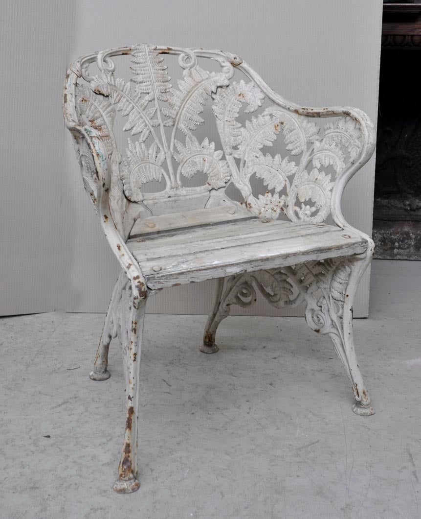 Antique Cast Iron Chairs : Antique cast iron garden furniture quot fern model at stdibs