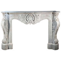Opulent Louis XV Style Fireplace made out of Carrara Marble, 19th Century