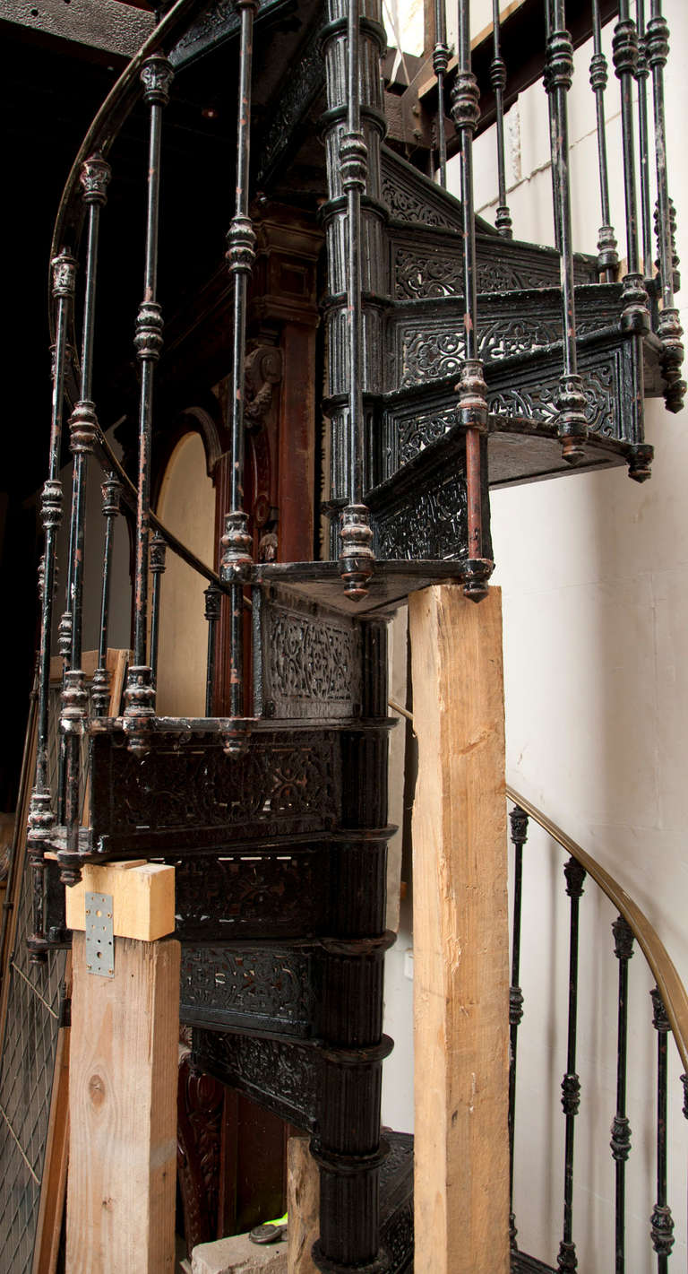 Antique spiral staircase made of cast iron th century