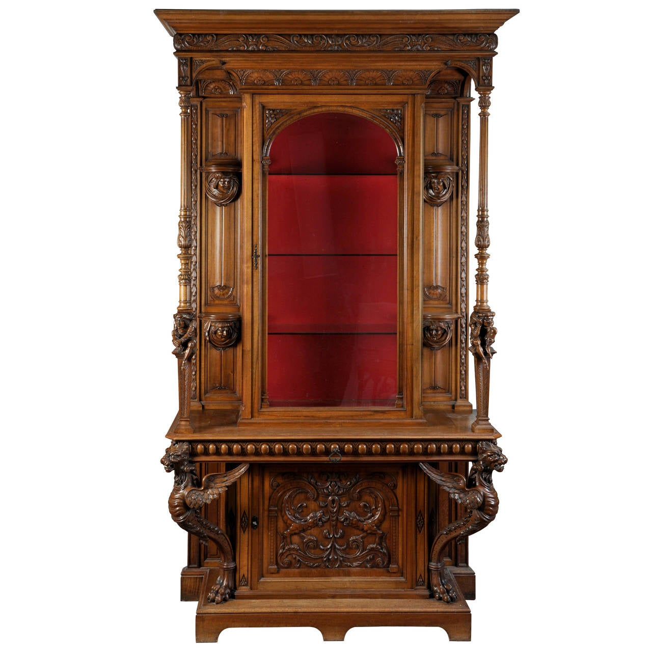 bellanger cabinetmaker neo renaissance style cabinet with chimeras decor for sale at 1stdibs. Black Bedroom Furniture Sets. Home Design Ideas