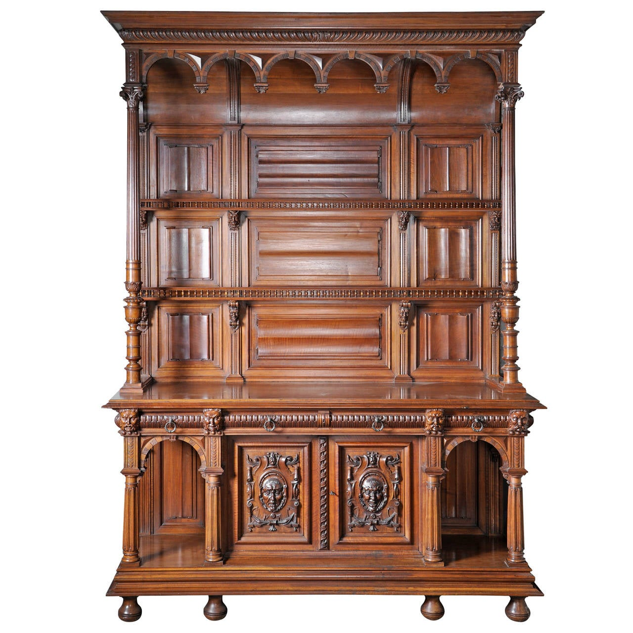 Neo-Gothic Style Carved Walnut Dresser with Satyrs Decor, 19th Century 1