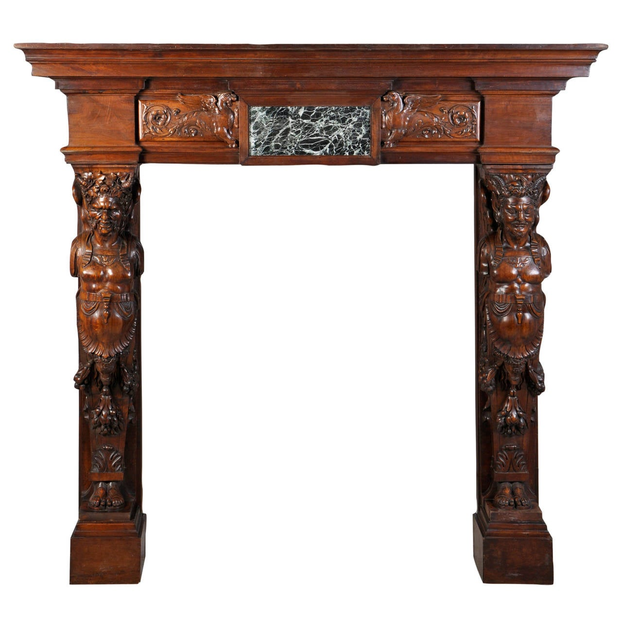 19th century antique french fireplace mantel carved in walnut for