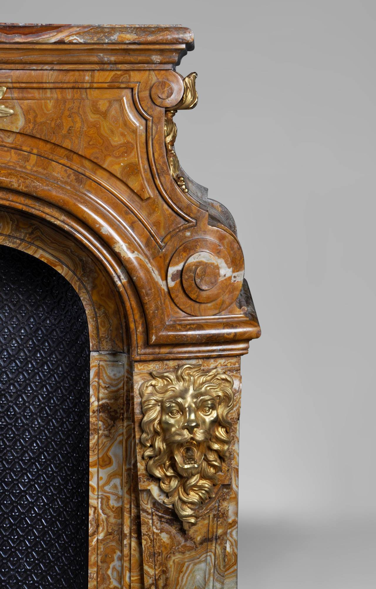 Louis XIV Style Fireplace in Alabastro di Busca with Gilded Bronze 7