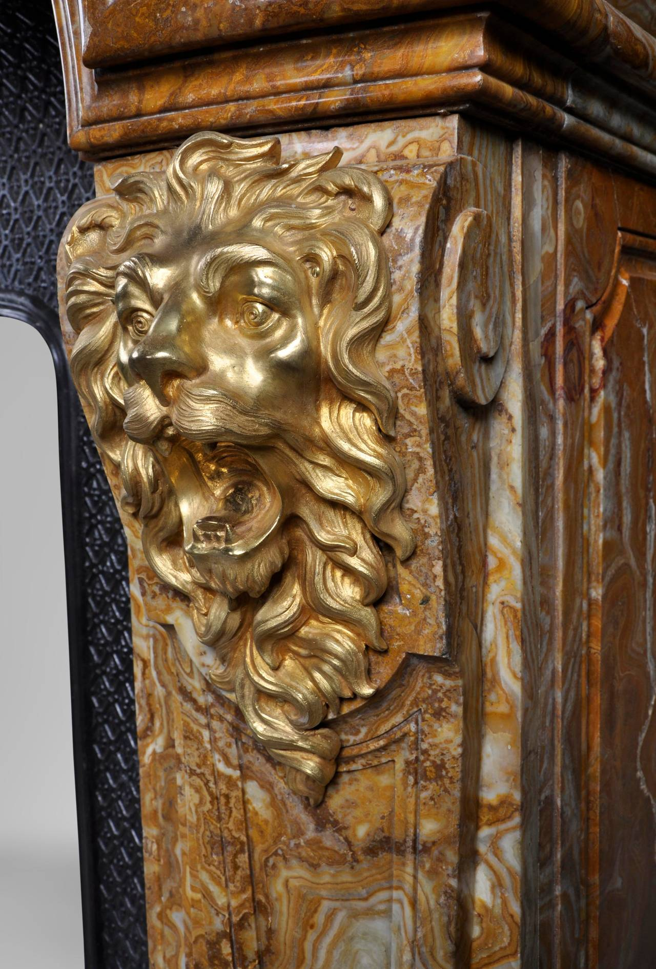 Louis XIV Style Fireplace in Alabastro di Busca with Gilded Bronze 4