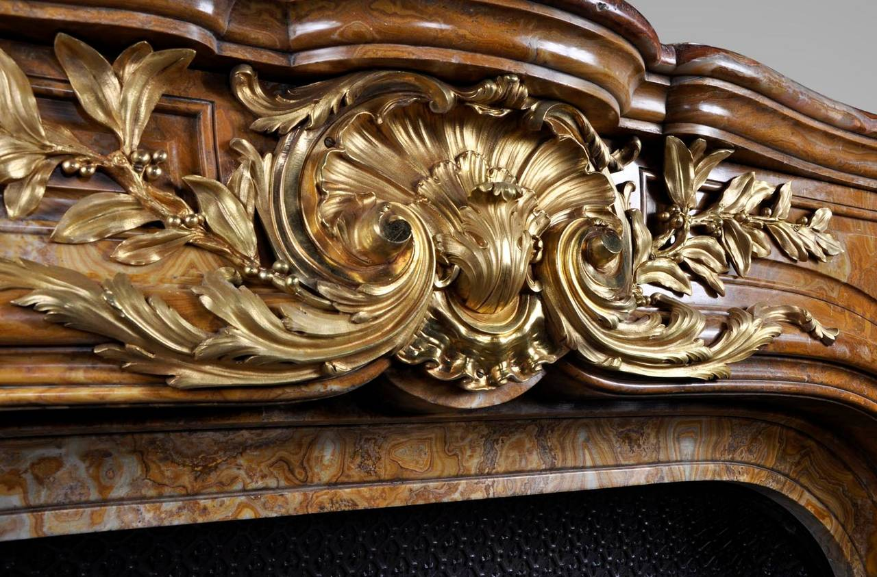 Louis XIV Style Fireplace in Alabastro di Busca with Gilded Bronze 2