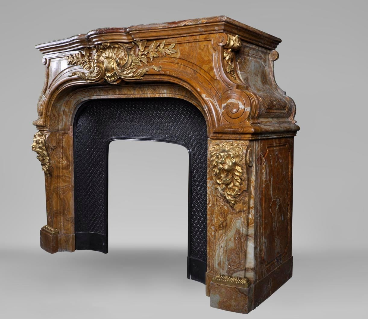 Louis XIV Style Fireplace in Alabastro di Busca with Gilded Bronze 5