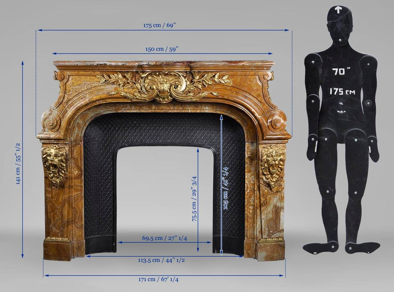 Louis XIV Style Fireplace in Alabastro di Busca with Gilded Bronze 10