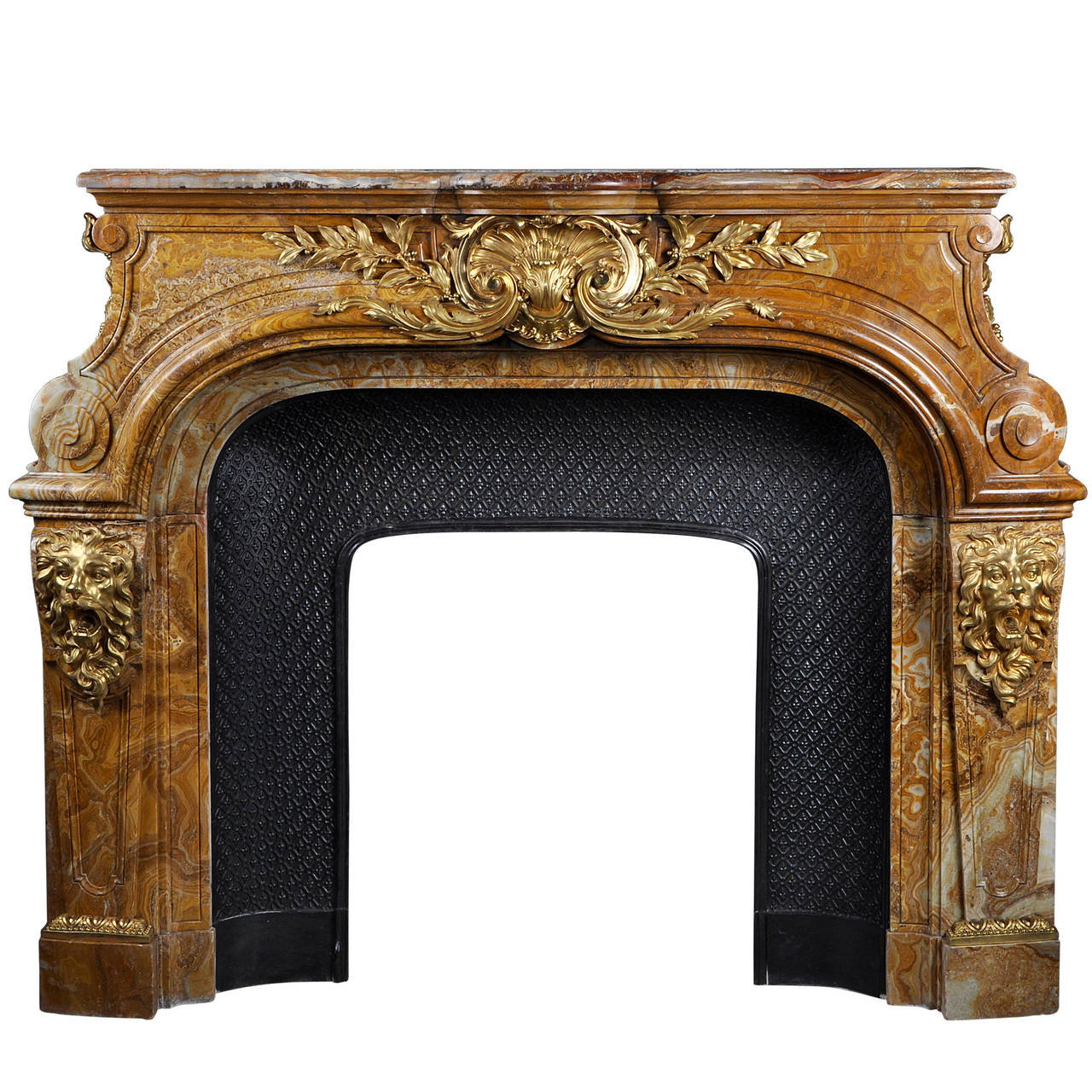 Louis XIV Style Fireplace in Alabastro di Busca with Gilded Bronze 1