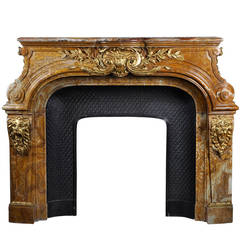 Louis XIV Style Fireplace in Alabastro di Busca with Gilded Bronze