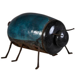 Zoomorphic Enameled Cast Iron Stove in a Form of a Scarab, 19th Century