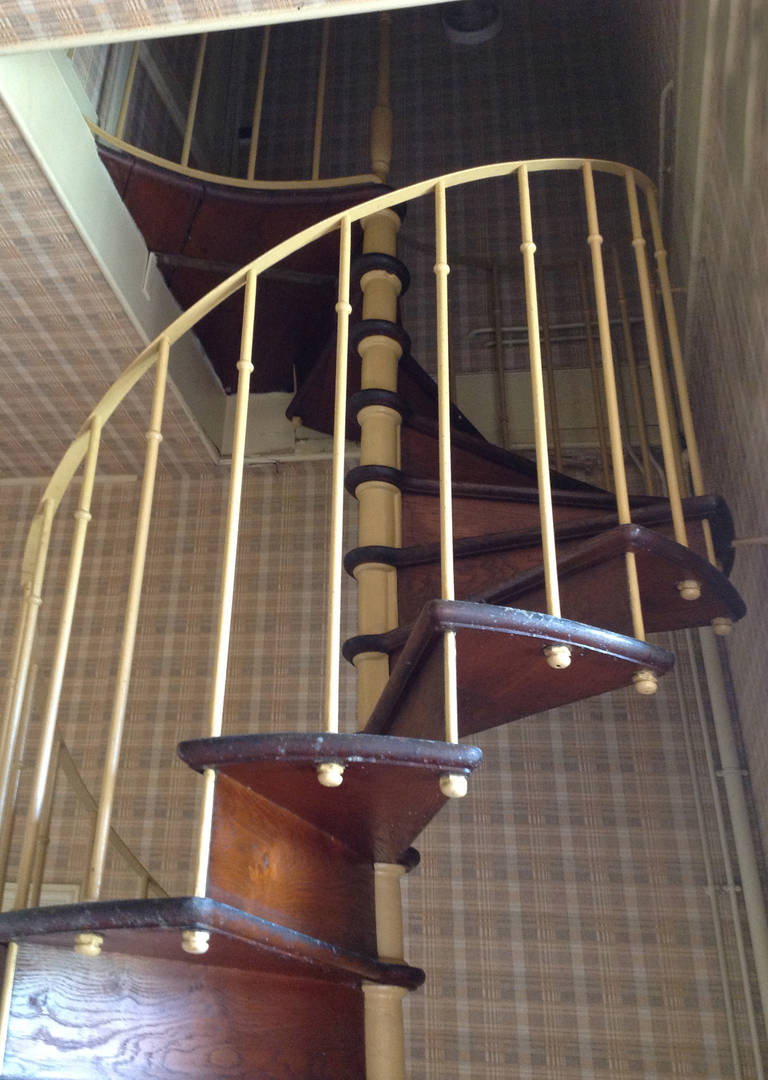 Cast iron and oak spiral staircase at 1stdibs for 4 foot spiral staircase