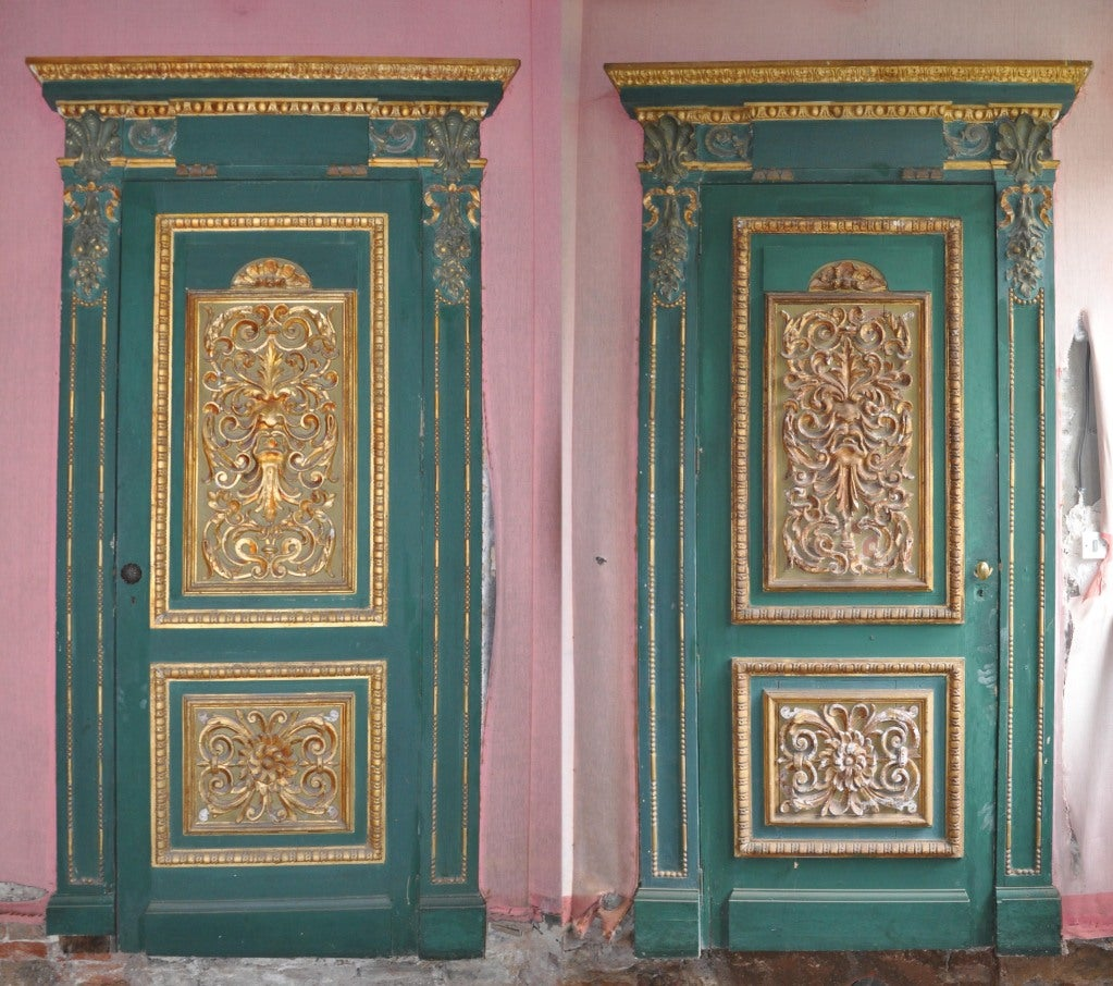 Pair Of Green Painted Doors With Sculpted And Gilded Wood