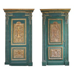 Pair of Green Painted Doors with Sculpted and Gilded Wood Panels