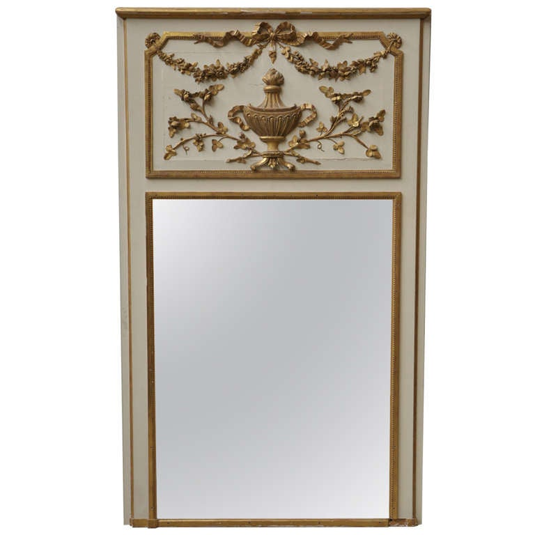 Antique Louis XVI style mirror 19th c with carved decor