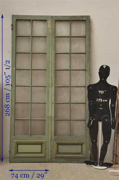 Lot Of Two Double Doors With Glass At 1stdibs