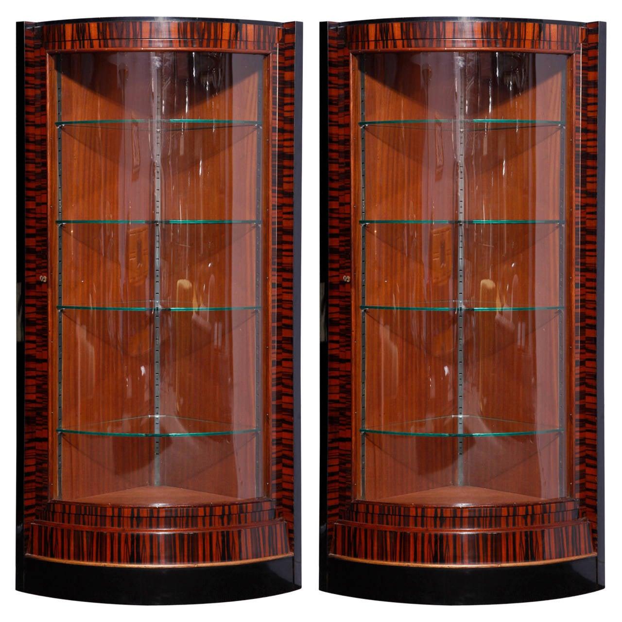 pair of ebony macassar art deco vitrines at 1stdibs. Black Bedroom Furniture Sets. Home Design Ideas