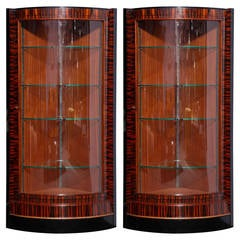 Pair of Ebony Macassar Art Deco Vitrines