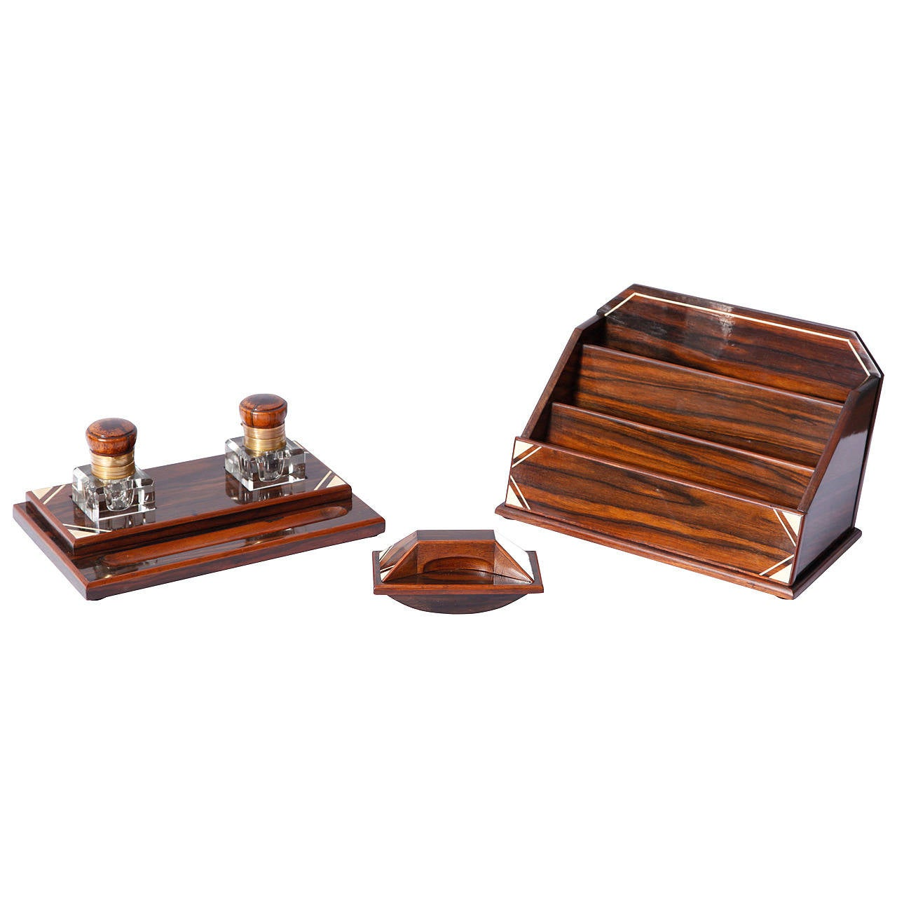 macassar five deco desk set at 1stdibs