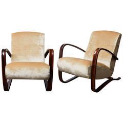 Elegant Pair of Armchairs by J. Halabala
