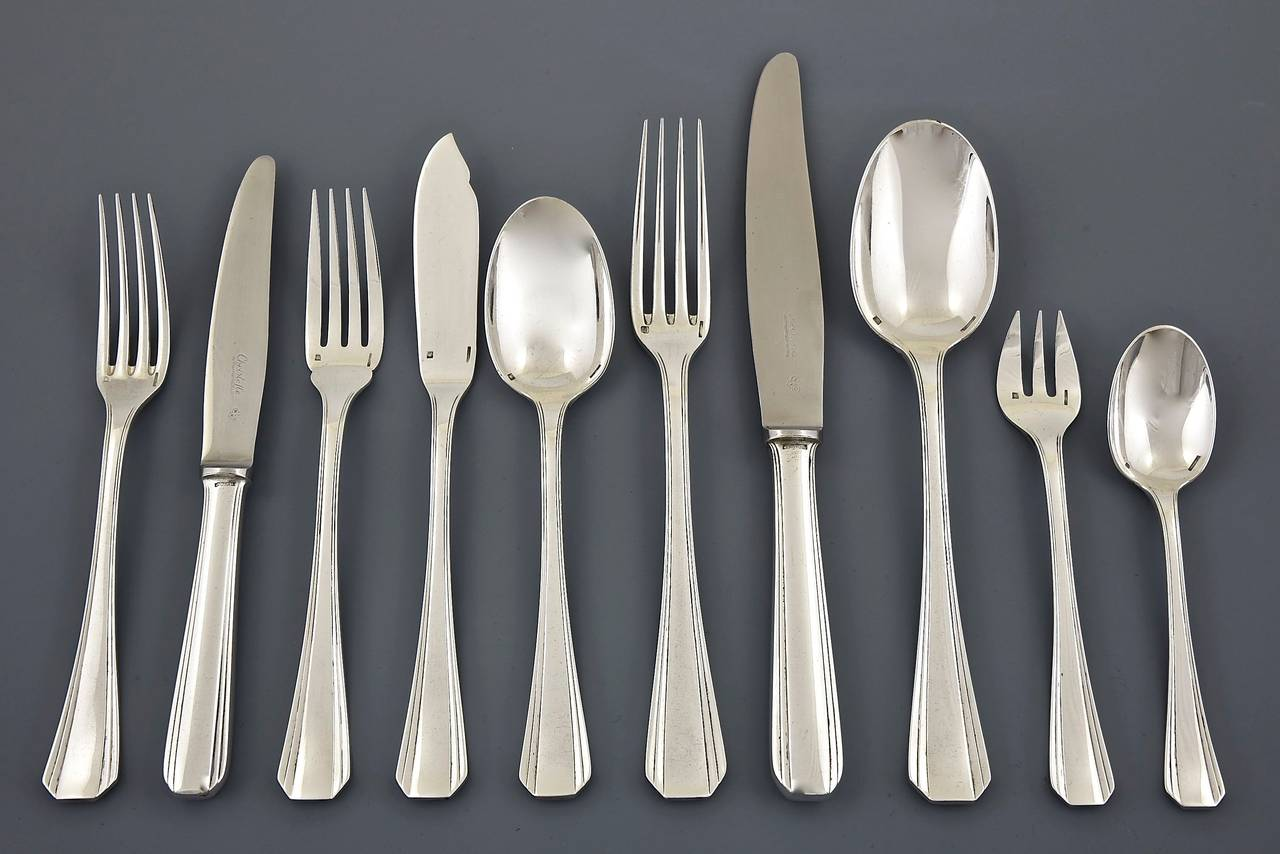 An extensive Art Deco silver plated cutlery set for 12 people. 128 pieces. Measure & 128 Pieces Art Deco Cutlery Set Boreal Christofle Original Case ...