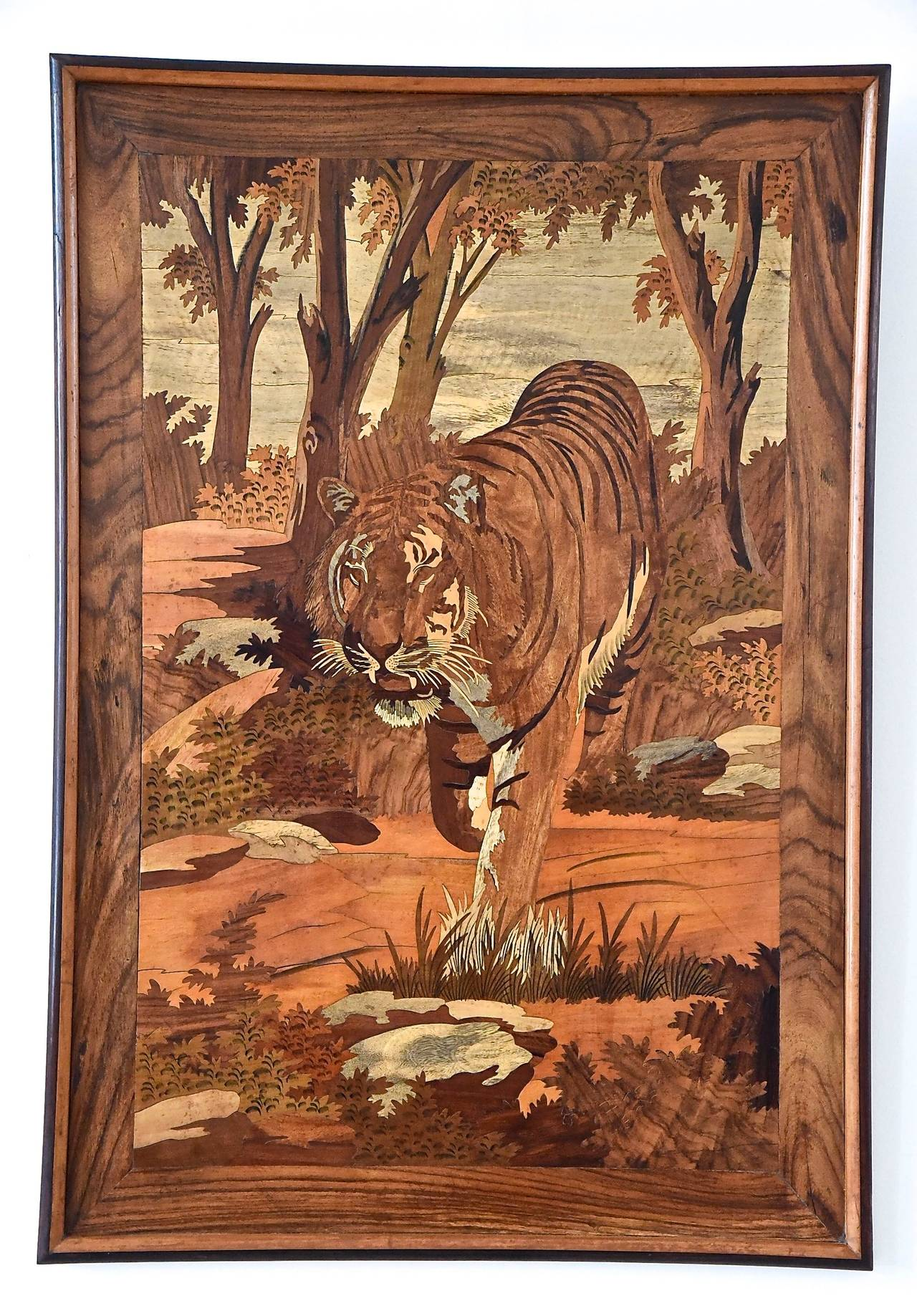 Art Deco Wood Inlay Panel With Tiger France 1930 At 1stdibs