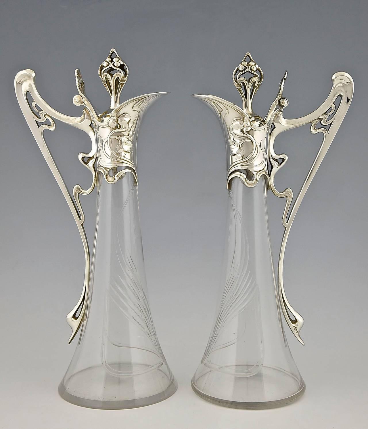 Pair of Art Nouveau Claret Jugs by WMF Germany, 1906 ...