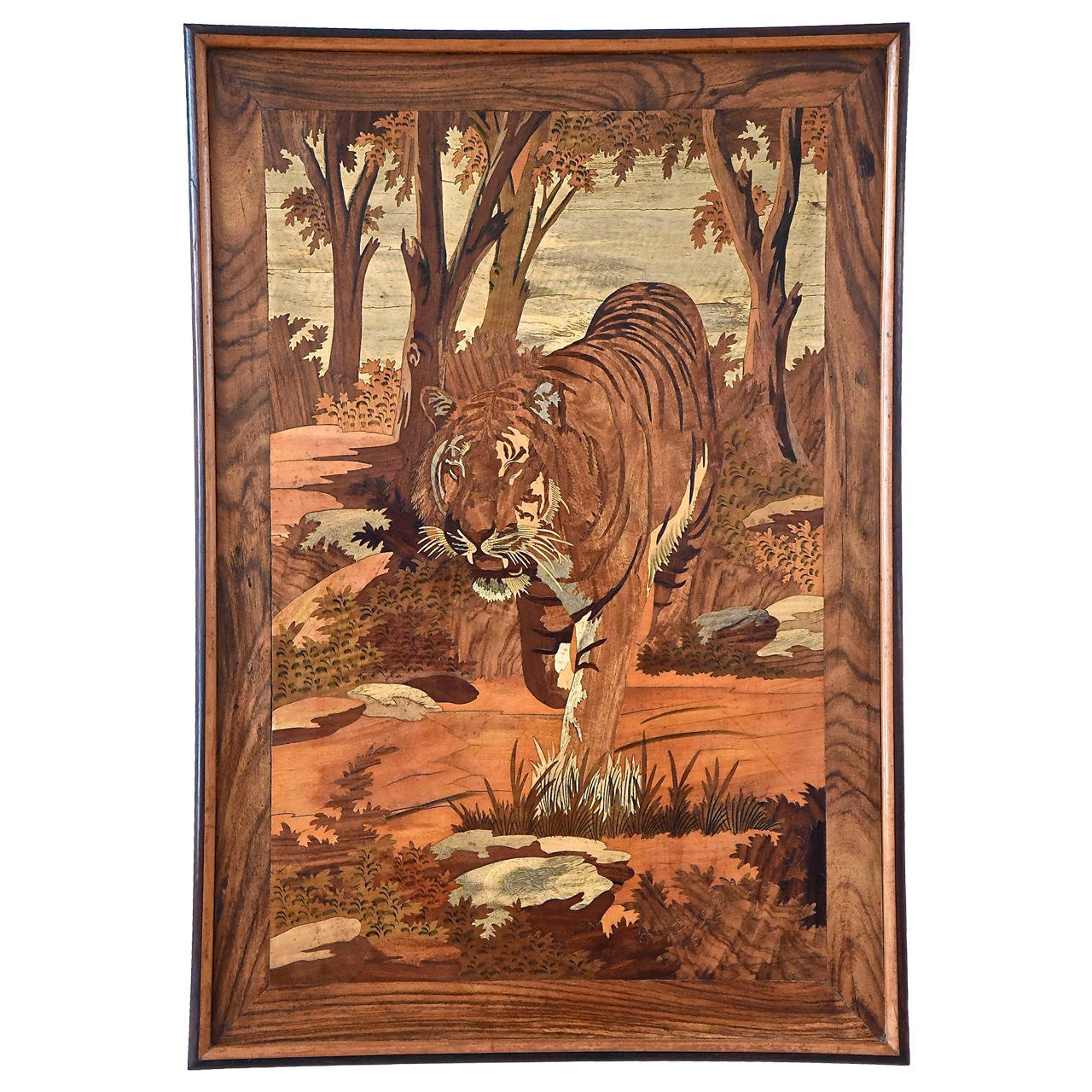 Art Deco Wall Panels: Art Deco Wood Inlay Panel With Tiger, France, 1930 At 1stdibs