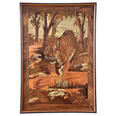 Art Deco Wood Inlay Panel with Tiger, France, 1930