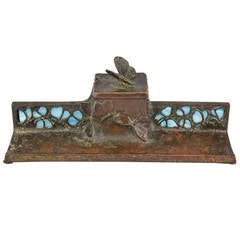 Art Nouveau Bronze Inkwell with Butterflies and Glass Inlay, circa 1900