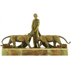 Impressive Bronze Art Deco Group Woman With Panthers By A. Ouline.