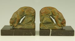 Art Deco Panther Bookends By Carvin.