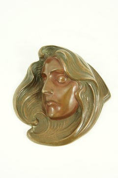 Art Nouveau bronze paperweight signed by August Rubin.