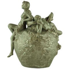 Art Nouveau Vase with Nudes by Emmanuel Villanis, Meditation